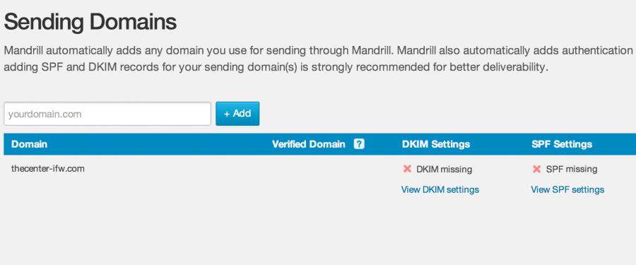 Mandrill Sending Domains SPF Missing