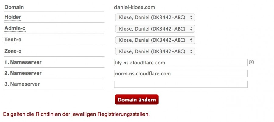 Hetzner Name Server Change